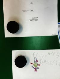 Design drawing with wax cupcake block