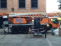 The Histrionic Wayfarer installation using crane