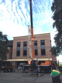 Large Crane for installation of Tim Storrier bronze sculpture The Histrionic Wayfarer