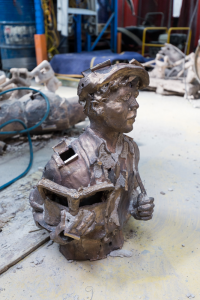Deshell top half of ceramic shell of James Martin sculpture